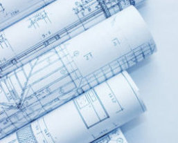 Photograph of blueprints