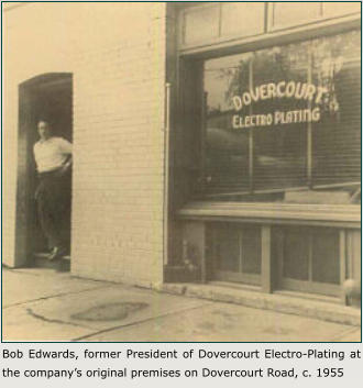 Bob Edwards, former President of Dovercourt Electro-Plating at the company's original premises on Dovercourt Road, c. 1955
